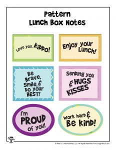 Simple Printable Lunch Box Notes