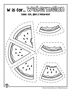 W is for Watermelon - Color, Cut and Paste