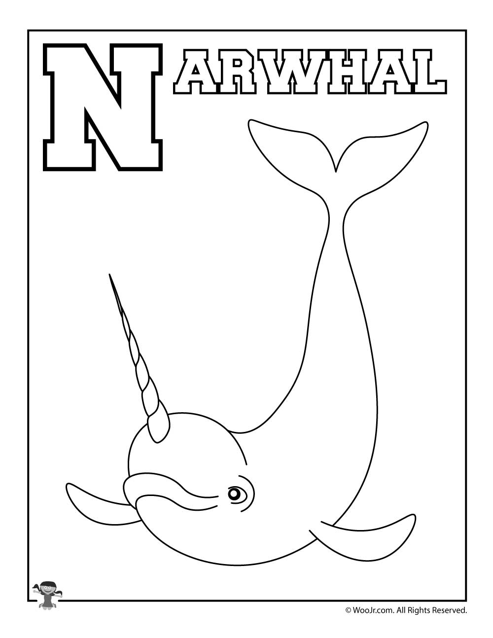 - N Is For Narwhal Coloring Page Woo! Jr. Kids Activities