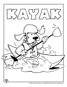 K is for Kayak Coloring Page