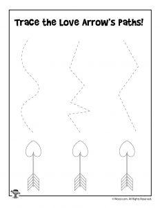 Love Arrow Tracing Practice