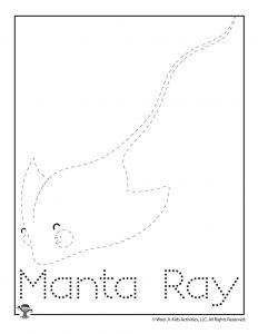 M is for Manta Ray Word Tracing