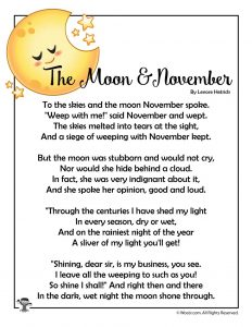 Moon & November Poem for Kids