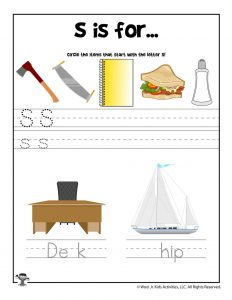 Letter S Phonics Recognition Worksheet