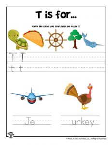 Letter T Phonics Recognition Worksheet