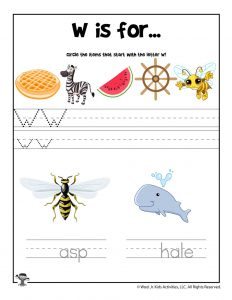 Letter W Phonics Recognition Worksheet