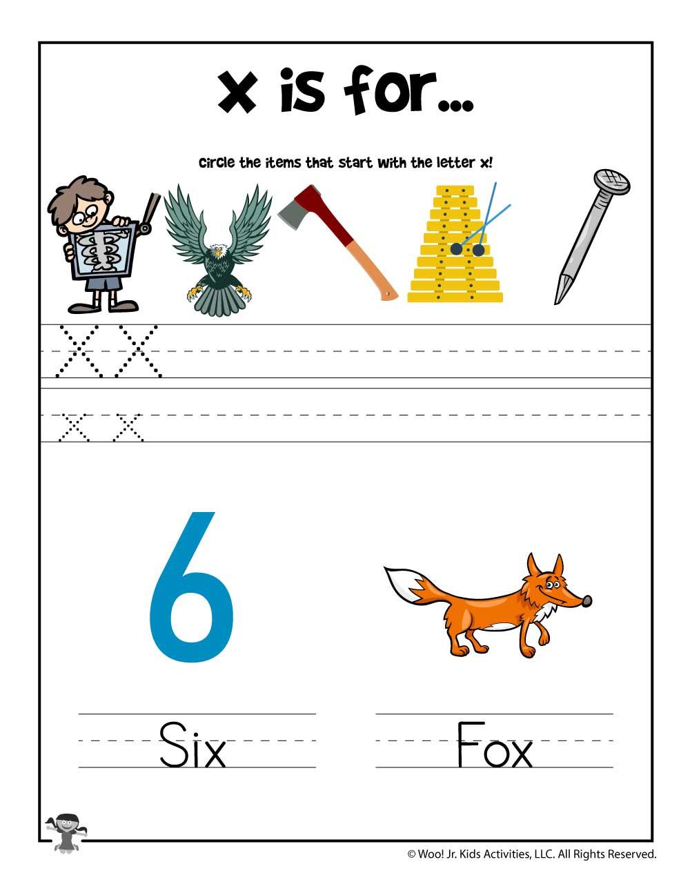 Letter X Phonics Recognition Worksheet Woo Jr Kids Activities
