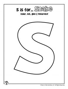 S is for Snake Coloring Craft Activity