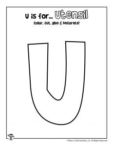 U is for Utensils Coloring Craft Activity