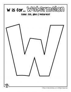 W is for Watermelon Coloring Craft Activity