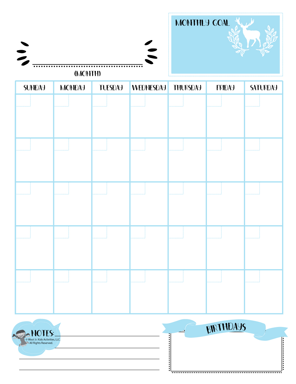 photo relating to Printable Perpetual Calendar identify Blue Month-to-month Perpetual Calendar Printable Woo! Jr. Youngsters