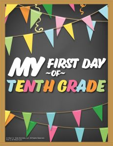First Day of 10th Grade Sign - Chalkboard