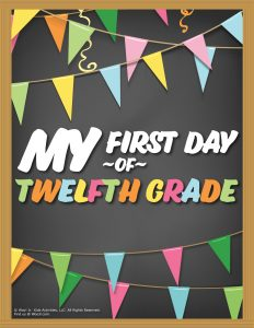 First Day of 12th Grade Sign - Chalkboard