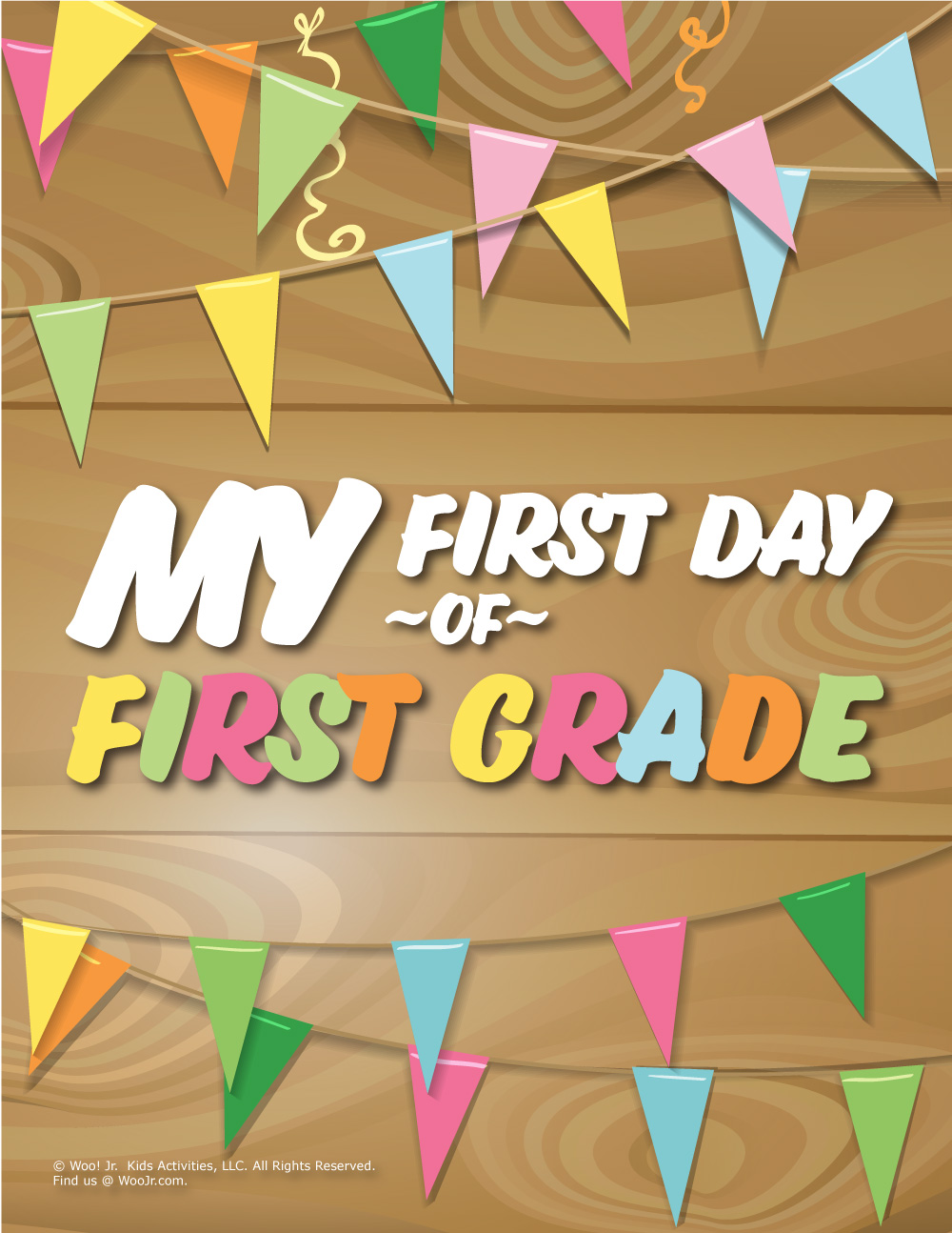graphic regarding First Day of 1st Grade Printable identified as Initially Working day of 1st Quality Signal - Picket Woo! Jr. Children Pursuits