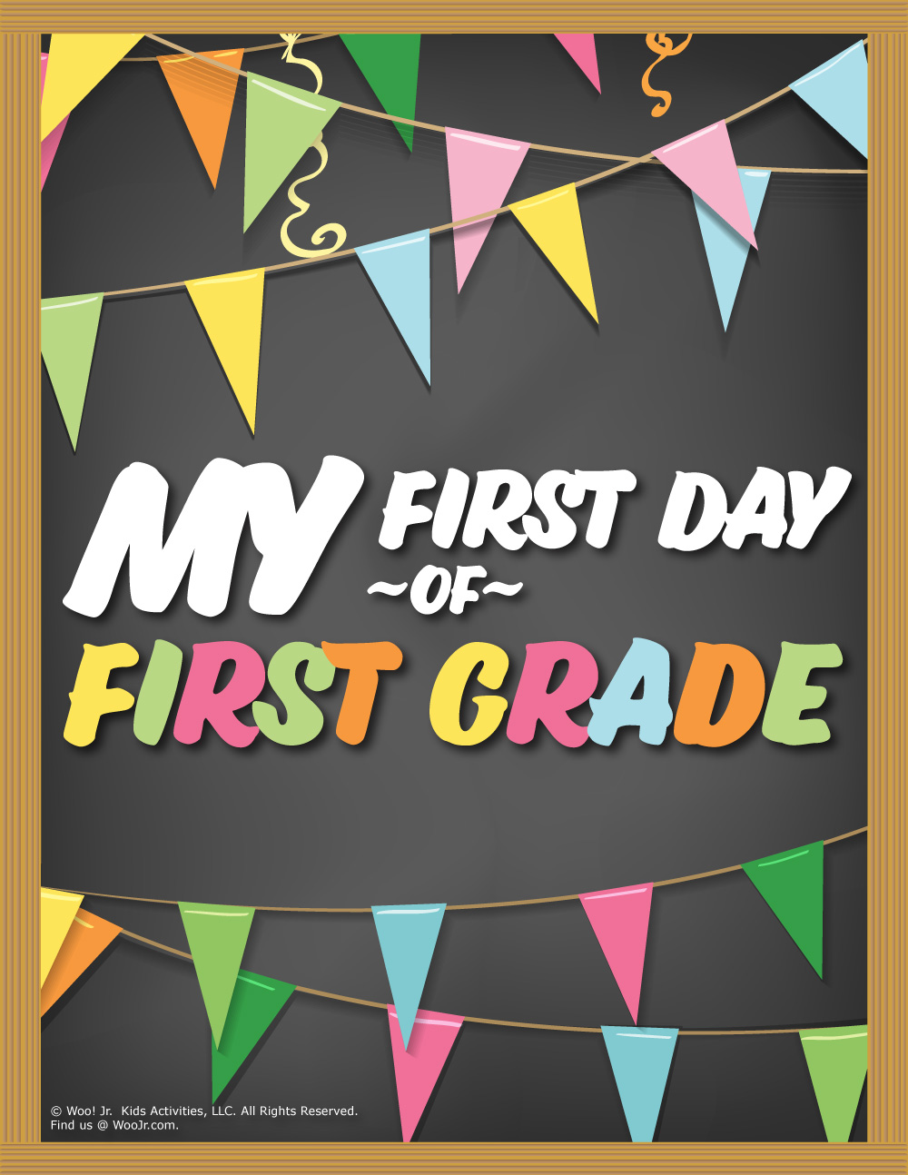 photograph relating to First Day of 1st Grade Printable Sign referred to as Initially Working day of 1st Quality Indication - Chalkboard Woo! Jr. Little ones
