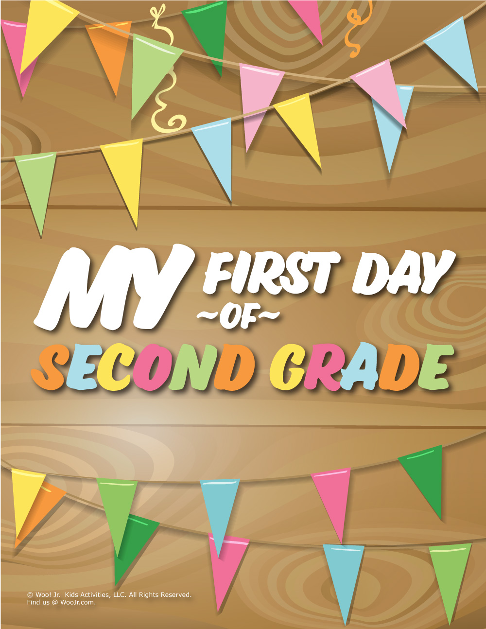 photograph about First Day of Second Grade Printable Sign titled Initially Working day of 2nd Quality Indicator - Picket Woo! Jr. Little ones Things to do