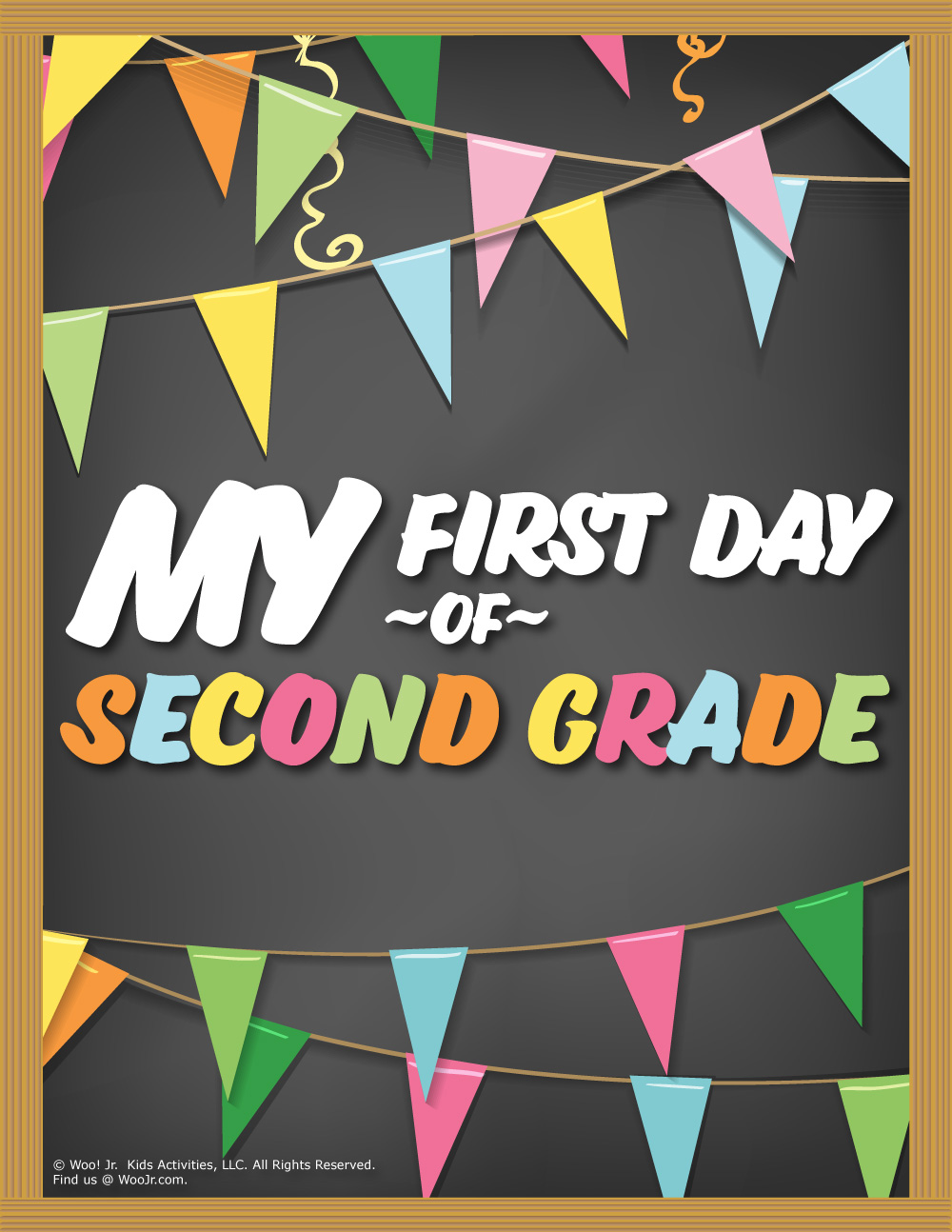 picture regarding First Day of 2nd Grade Printable Sign identify 1st Working day of 2nd Quality Indicator - Chalkboard Woo! Jr. Children