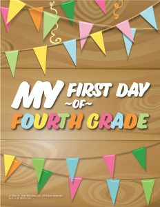 First Day of 4th Grade Sign - Wood