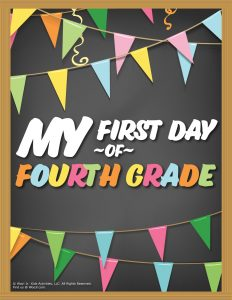 First Day of 4th Grade Sign - Chalkboard