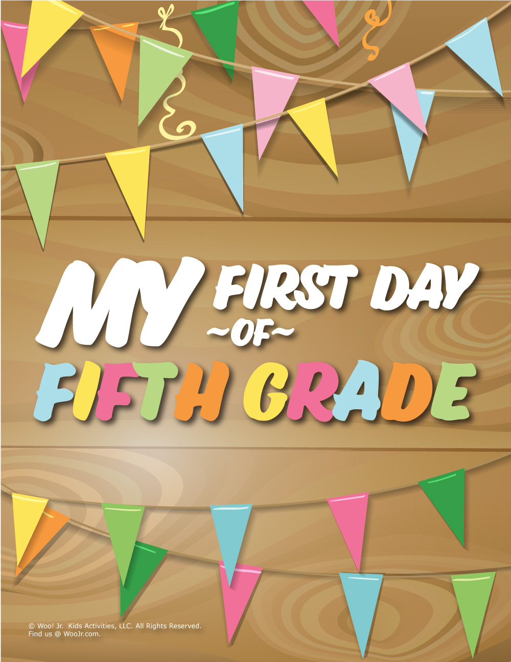 image regarding First Day of 5th Grade Printable named Very first Working day of 5th Quality Signal - Wooden Woo! Jr. Little ones Routines