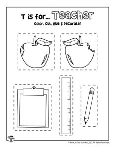 T is for Teacher Coloring Craft Activity