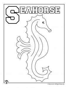 S is for Seahorse Coloring Page