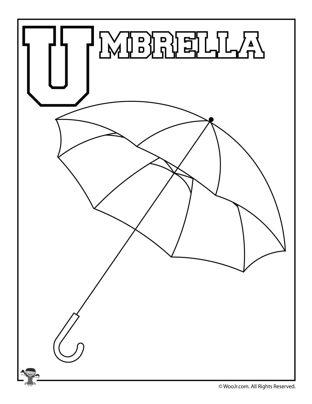 U is for Umbrella Coloring Page | Woo! Jr. Kids Activities