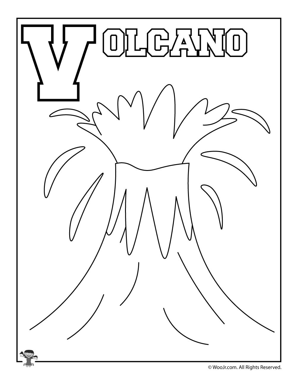 V Is For Volcano Coloring Page Woo Jr Kids Activities
