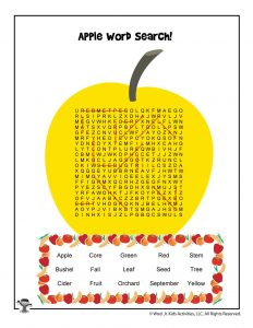 Apple Picking Word Search - ANSWER KEY