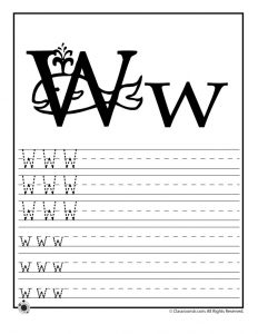 Letter W Tracing Practice