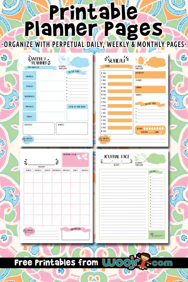 picture relating to Weekly Planner Page called Printable Planner Internet pages - Day-to-day, Weekly Every month Designs