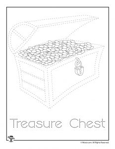 T is for Treasure Chest Word Tracing