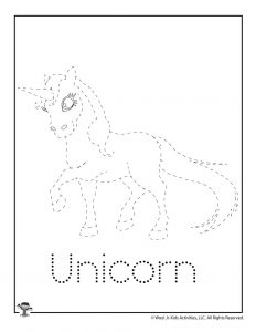 U is for Unicorn Word Tracing