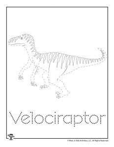 V is for Velociraptor Word Tracing