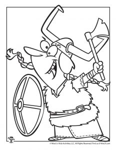 V is for Viking Coloring Page