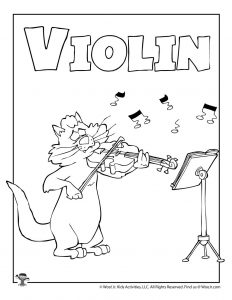 V is for Violin Coloring Page