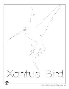 X is for Xantu's Hummingbird Word Tracing