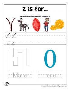 Letter Z Phonics Recognition Worksheet