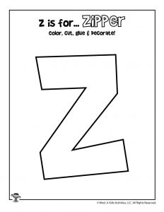 Z is for Zipper Coloring Craft Activity