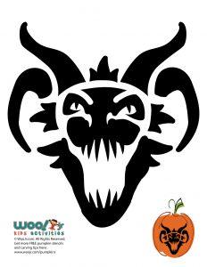 Scary Dragon Head Pumpkin Face Stencil