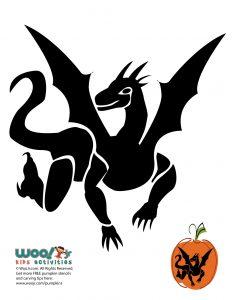 Flying Dragon Pumpkin Template