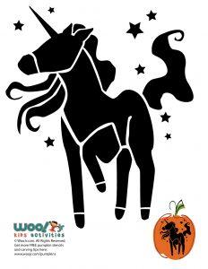 Stars and Unicorn Pumpkin Stencil