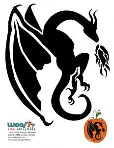 Fire Breathing Dragon Pumpkin Stencil
