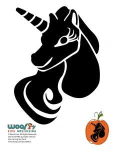 Pretty Unicorn Pumpkin Carving Design