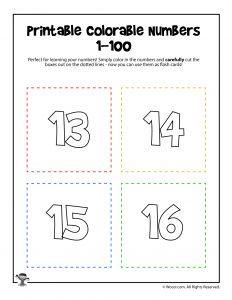 Printable Numbers 13-16