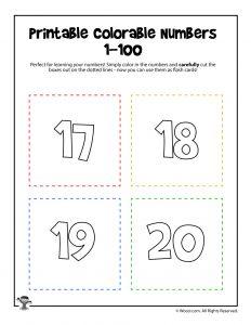 Printable Numbers 17-20
