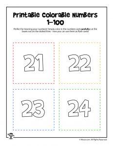 Printable Numbers 21-24