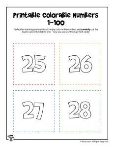 Printable Numbers 25-28