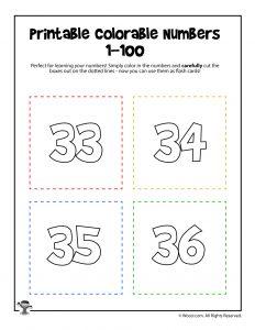 Printable Numbers 33-36