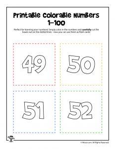 Printable Numbers 49-52